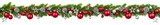Christmas border on white, hanging decorated garland - 177658275