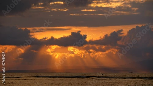 Foto op Canvas Baksteen Sunrise clouds and sea. View from Sanur beach, Bali, Indonesia