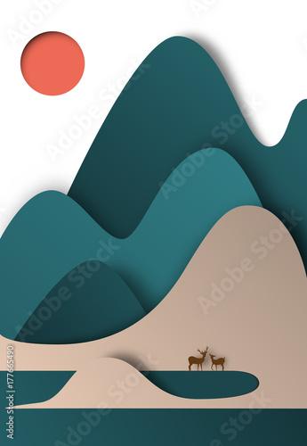 Fotobehang Groen blauw Colorful mountain