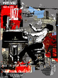Jazz poster with pianist over grunge background - 177666277