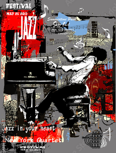 Plexiglas Art Studio Jazz poster with pianist over grunge background