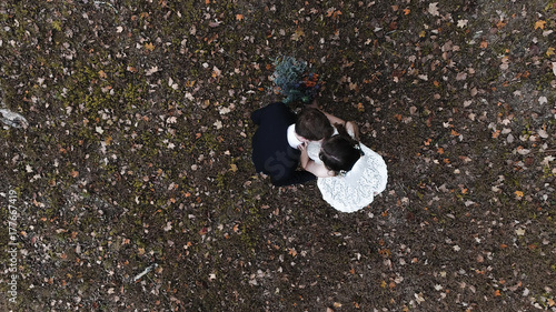 Fall Wedding Happy Couple Drone - 177667419