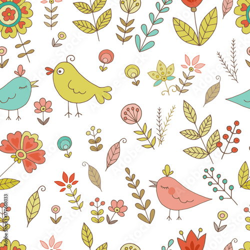 Tuinposter Abstract bloemen Vintage seamless pattern for your design with birds and flowers