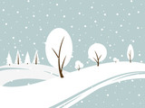Winter snowy landscape background.