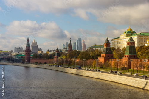 Moscow autumn - Kremlin on a sunny day in October or November Poster