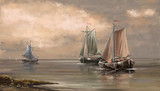 Sea landscape paintings, fisherman, boats, ships, art, digital oil paint.