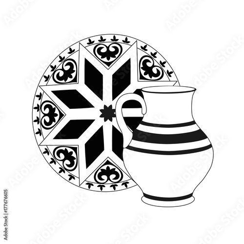 Composition of monochrome jug with tray. Crockery in black and white colors. Rustic ceramic utensils, unicolorous vector illustration for your design. Square location.