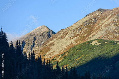 Tatra mountain peak view in Slovakia in sunny day Poster
