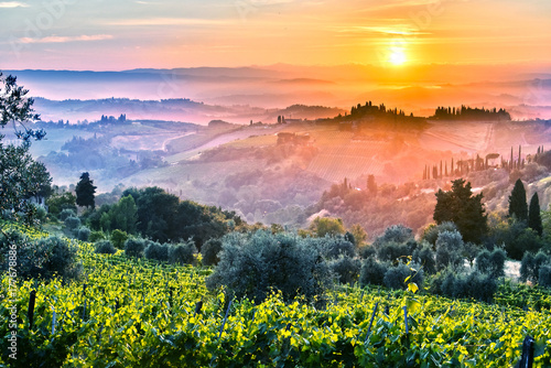 Staande foto Toscane Landscape view of Tuscany, Italy during sunrise