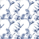 Seamless pattern with Tulips and Narcissus flowers