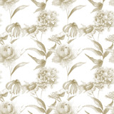 Seamless pattern with Hydrangea, Hibiscus and Rose flowers