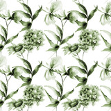 Seamless pattern with Hydrangea, Hibiscus and Cosmea flowers