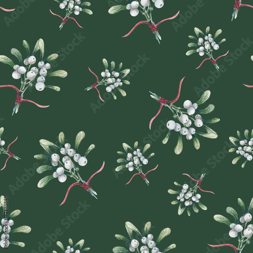 Cotton fabric Watercolor Christmas seamless pattern of mistletoe
