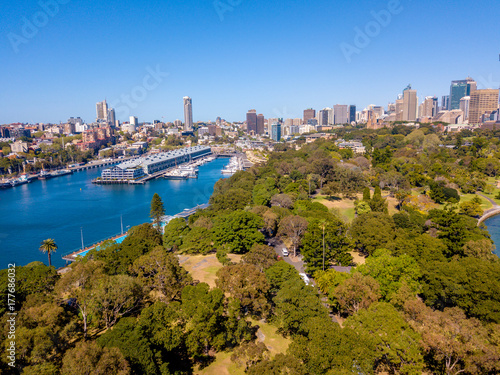 Amazing aerial footage view of the Sydney city from above with Harbour bridge, Opera house ant the harbour Poster