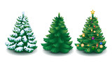 Fototapety vector collection of cartoon Christmas trees