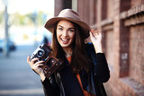 Close-up Fashion woman portrait of young pretty trendy girl posing at the city, street fashion - 177688868