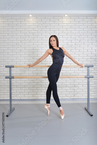 Beautiful ballerina posing at ballet class near barre, full length portrait Poster