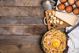 Pasta with bacon, egg and cheese - 177689829