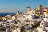 World famous Oia village or Ia at sunset, Santorini island, Greece. - 177697082