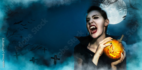 Poster Screaming vampire fangs female and hopding Halloween grinning face pumpkin myste