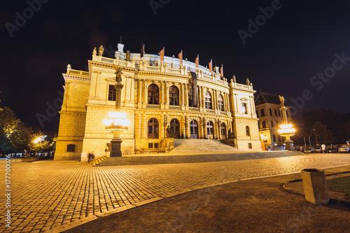 Night view of The building of Rudolfiunum concert hall in Prague, Czech Republic Poster