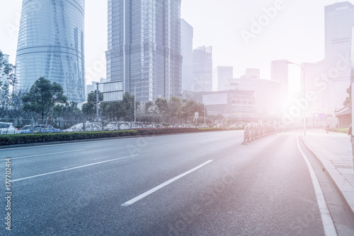 Road floor and urban construction skyline Poster