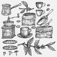 Hand-drawn Vintage Coffee Set. Isolated artwork object. Suitable for and any print media need.