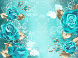 Lacy background with turquoise roses - 177712286