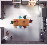 Top view of the modern kitchen - 177713435