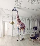 the giraffe hold the chandelier - 177713481
