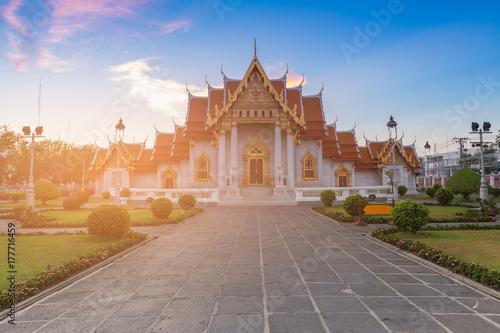 Godlen marble temple Bangkok Thailand historic landmark Poster