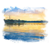 Lake in twilight with tree and beautiful sky. Watercolor painting (retouch). - 177716841