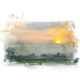 Rice field with beautiful sky on background. Watercolor painting (retouch). - 177716868