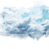 Blue sky with white cloud. Artistic watercolor painting (retouch) abstract background. - 177716890