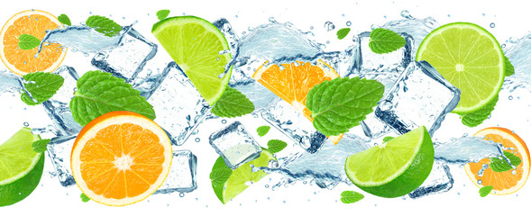lime and orange splash water and ice isolated © slawek_zelasko