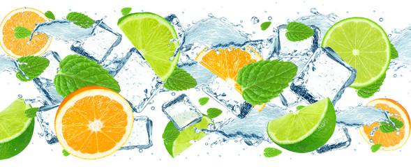 lime and orange splash water and ice isolated © slawek_zelasko