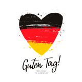 Guten Tag. Flag of Germany in a big heart.