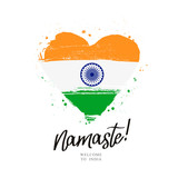 Namaste. Flag of India in a big heart