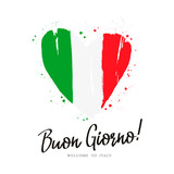Buon Giorno. Flag of Italy in the form of a big heart