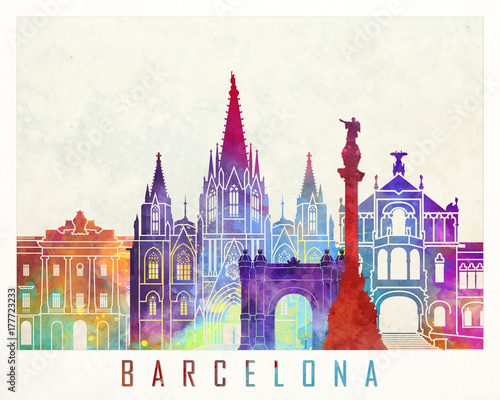 Barcelona landmarks watercolor poster