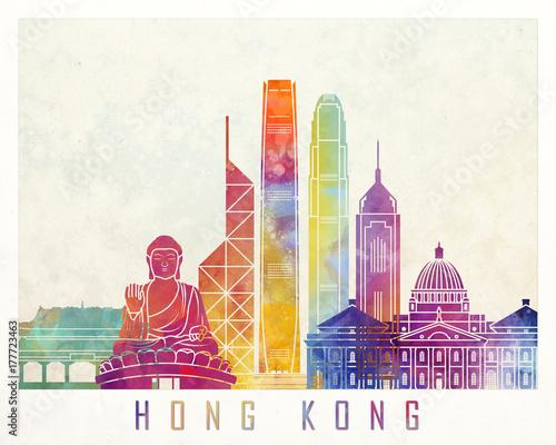 fototapeta na ścianę Hong Kong landmarks watercolor poster