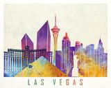 Las Vegas landmarks watercolor poster