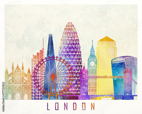 London landmarks watercolor poster