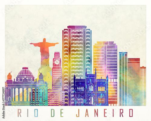 Rio de Janeiro landmarks watercolor poster