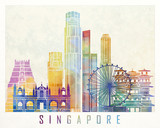 Singapore landmarks watercolor poster