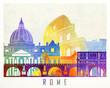 Rome landmarks watercolor poster