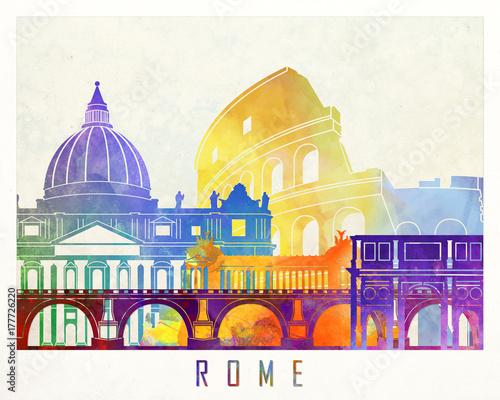 Rzym zabytki akwarela plakat