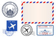 Collection of postal elements. Blank envelope, stamps and postmarks