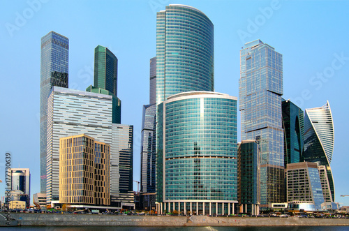 Fotobehang Moskou Moscow City international business center in Moscow.