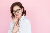 Gentle woman in eyeglasses on pink - 177731205